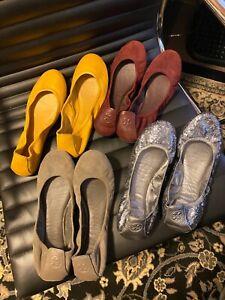 Tory Burch Eddie Ballet Flats 9.5 10 silver glitter grey burgundy yellow leather