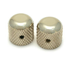 """(2) Nickel Vintage Dome Knobs for Tele® & P Bass® 1/4"""" Solid Shaft MK-0110-001"""