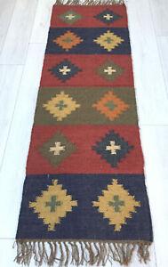 Kilim Hall Runner Indian Jute Wool Hand Knotted 180x60cm 6x2ft Geometric KRN01