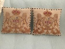 """Set of 2 Small Vintage Needlepoint Lion Crest 11� x 11"""" Pillows & Lovely &"""