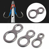 30Pcs Fishing Butterfly Jigging Figure 8 Solid Ring Stainless Steel Assist Hook
