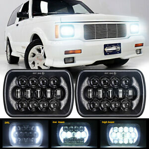 """Black Pair 5x7"""" 7x6"""" LED Headlights With DRL For GMC Sonoma 1991-1994 S15 Jimmy"""