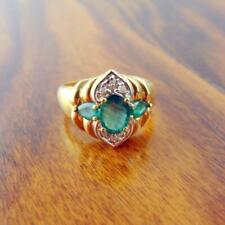 14K Yellow Gold Emerald & Diamond Cocktail Ring - 4.4g