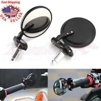 "Black Handle 7/8"" Bar End Motorcycle Rear View Side Mirror For Honda GROM MSX125"