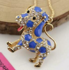 Pendant Betsy Johnson Fashion Jewelry rhinestone bow dog golden chain necklace