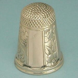 Antique 14 Kt Gold Engraved Panels Thimble * American * Circa 1870s