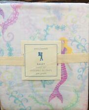 NEW Pottery Barn Kids Bailey Mermaid Queen 4pc Sheet Set Beach Ocean Pink Aqua