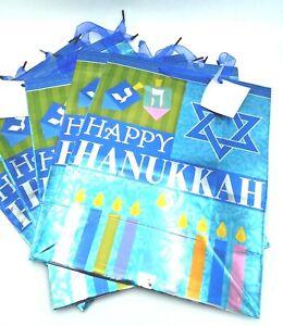 5 Large Size Hanukkah Chanukah Gift Bags Menorah Star of David