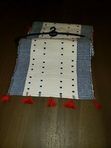 Pier 1 Imports Table Runner Blue And White W/ Red Tassel