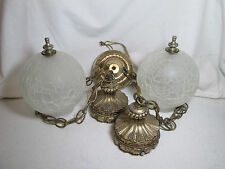 Vtg Mid Century Double Hanging Light Swag Lamp Frosted Crackle Glass Globes