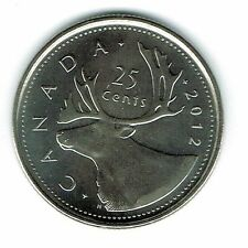 2012 Logo Canadian Brilliant Uncirculated Caribou Twenty Five Cent coin!