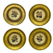 Vintage Set Of 4 Hand Colored Floral Prints Gold Framed Original Price Sticker