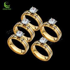 20ps vente en gros de bagues de fiançailles de femmes de fille Zircon bijoux beaucoup en acier inoxydable