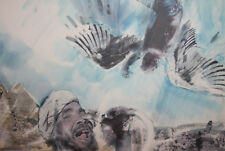 Abstract Surrealist print Fall of Icarus Signed