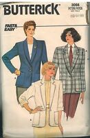 3066 Vintage Butterick Sewing Pattern Misses Loose Fitting Unlined Jacket 14 OOP