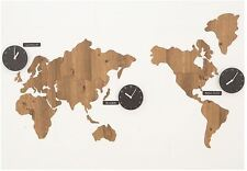 Wooden world map wall clocks for sale ebay large world map wall clock wooden diy sticker puzzle decor interior gift brown gumiabroncs Image collections