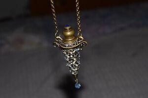 """Vintage Perfume Bottle Necklace 36"""" Brass Rolo Blue Faceted Glass Unique Lot84"""