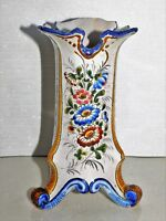 PETIT VASE TRIPODE ANCIEN EN FAIENCE DE NEVERS A DECOR FLORAL HAUT 18 CM