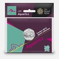 London 2012 Royal Mint AQUATICS Olympic 50p Coin Sealed Uncirculated