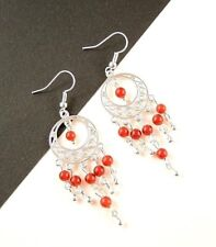 1 Natural Pair of Red Carnelian Gemstone Bohemian Dangle Earrings - #447