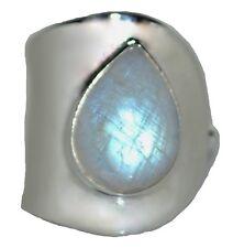Sterling SILVER Rainbow Moonstone Adjustable Ring Genuine Gemstone 925 Jewellery