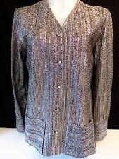 Vintage Silver Metallic Blouse Size 18/38 Jami Originals Button Front Top Shirt