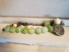 "Vintage Green Jade Bead Stone Asian Anklet Token Coin Fashion Jewelry 20"" Strand"