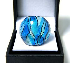 Turquoise Blue & Black Loose Plaid Hand Blown Glass Ring size 7.5