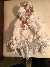 Vintage Rabbit Doll Purse, linen, lace, colors are cream and pink.