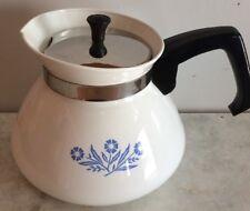 Vintage Corelle Corning Ware BLUE CORNFLOWER Teapot Tea Pot Kettle 6 cup  P-104