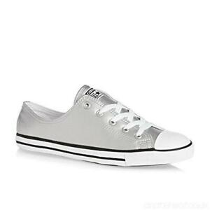 CONVERSE Chuck Taylor All Star Dainty Metallic Leather Color Silver Black White