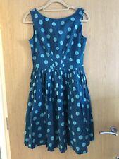 Emily & Fin Teal Spot Abigail Retro Women's Dress Size 10/S Cotton Pockets New
