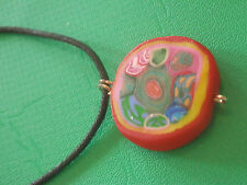 millefiori with cord chain Pendant Necklace polymer clay fimo