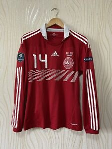 DENMARK 2010 2011 HOME FOOTBALL SHIRT JERSEY ADIDAS MATCH WORN? LASE SCHONE #14