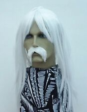 WHITE LONG STRAIGHT FANCY DRESS WIG & DROOP MOUSTACHE. UK NEXT DAY DISPATCH