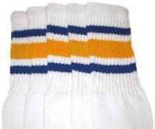 "22"" KNEE HIGH WHITE tube socks with ROYAL BLUE/GOLD stripes style 3 (22-33)"