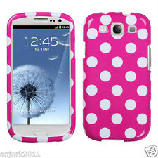 Samsung Galaxy S3 Snap-On Hard Case Cover Accessory Hot Pink White Polka Dots