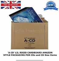 50 x A-CD LIL CD SIZE RIGID CARDBOARD AMAZON STYLE MAILERS ENVELOPES C0 JL0 ACD