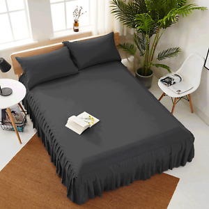 """European Pleated Bed Spread/Bed Skirt 20"""" drop 800 TC 100% Cotton ALL SIZE&COLOR"""