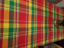 Coupon de tissus Madras carreaux rouge jaune vert 4M x 1M65 pour création nappe