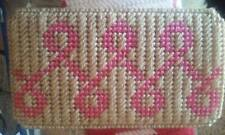 Handmade Plastic Canvas Breast Cancer Awareness Eyeglass Case
