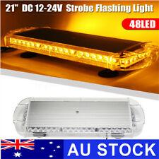 "21"" 48 LED Emergency Beacon Strobe Amber Light Bar Flashing Warning Lamp DC 12V"