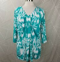 Jones NY Travel Knit Stretch Tunic Top Plus size 1X 14/16 slinky 3/4 Sleeve Teal