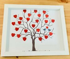 Sequin Hearts Tree with Kissing Birds Frame. Valentine's Day Gift/Wedding Gift