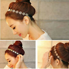 Women Fashion Metal Chain Jewelry Hollow Rose Flower Elastic Hair Band Headband
