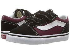 Vans Toddlers Old Skool V (POP) Black/OG Burgundy All Sizes 4-10 Fast Shipping