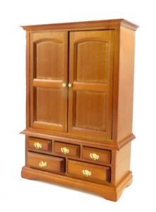 Dolls House Walnut Linen Cupboard Armoire Miniature 1:12 Bedroom Furniture