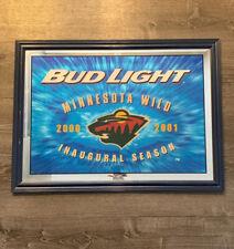 Authentic Minnesota Wild Mirror/Sign Inaugural Season Budlight 2000-2001