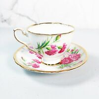 Royal Stafford Carnation Tea Cup and Saucer Set Pink Gold Bone China England