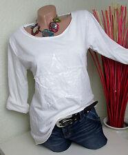 MaGNiFiCo Italy - Basic Longsleeve Shirt mit Stern in weiß Gr. 38 40 NEU!